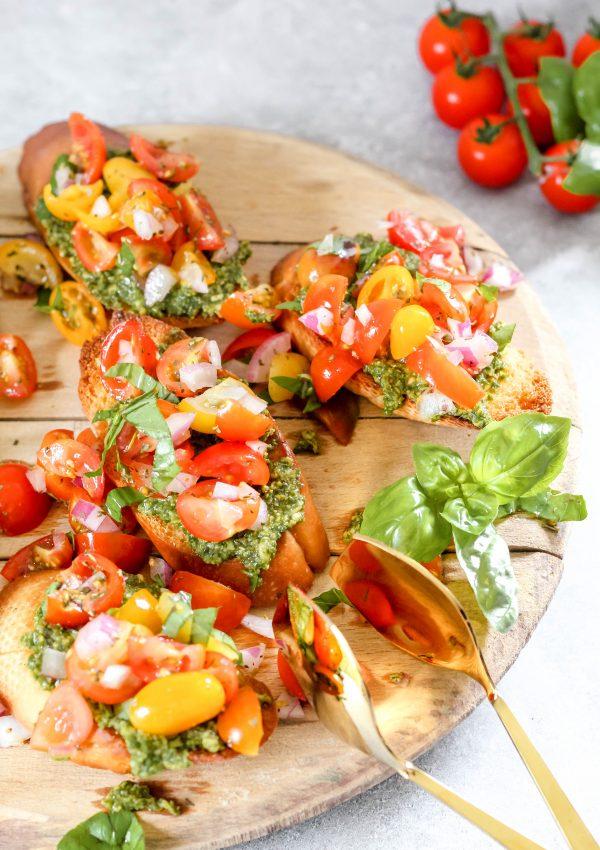 Make My Bruschetta with Marinated Tomatoes and Pesto