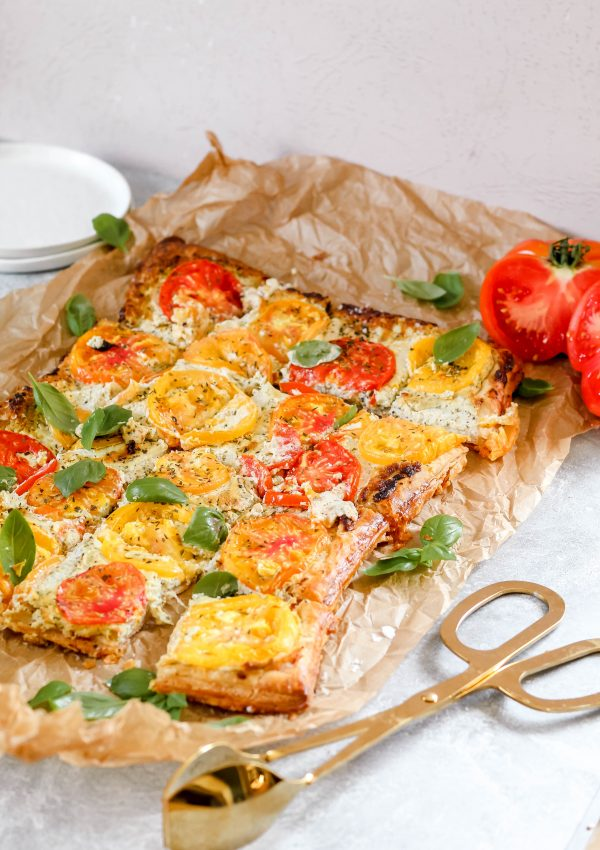 Heirloom Tomato Tart with Pesto-Whipped Goat Cheese – An Easy and Impressive Summertime Snack