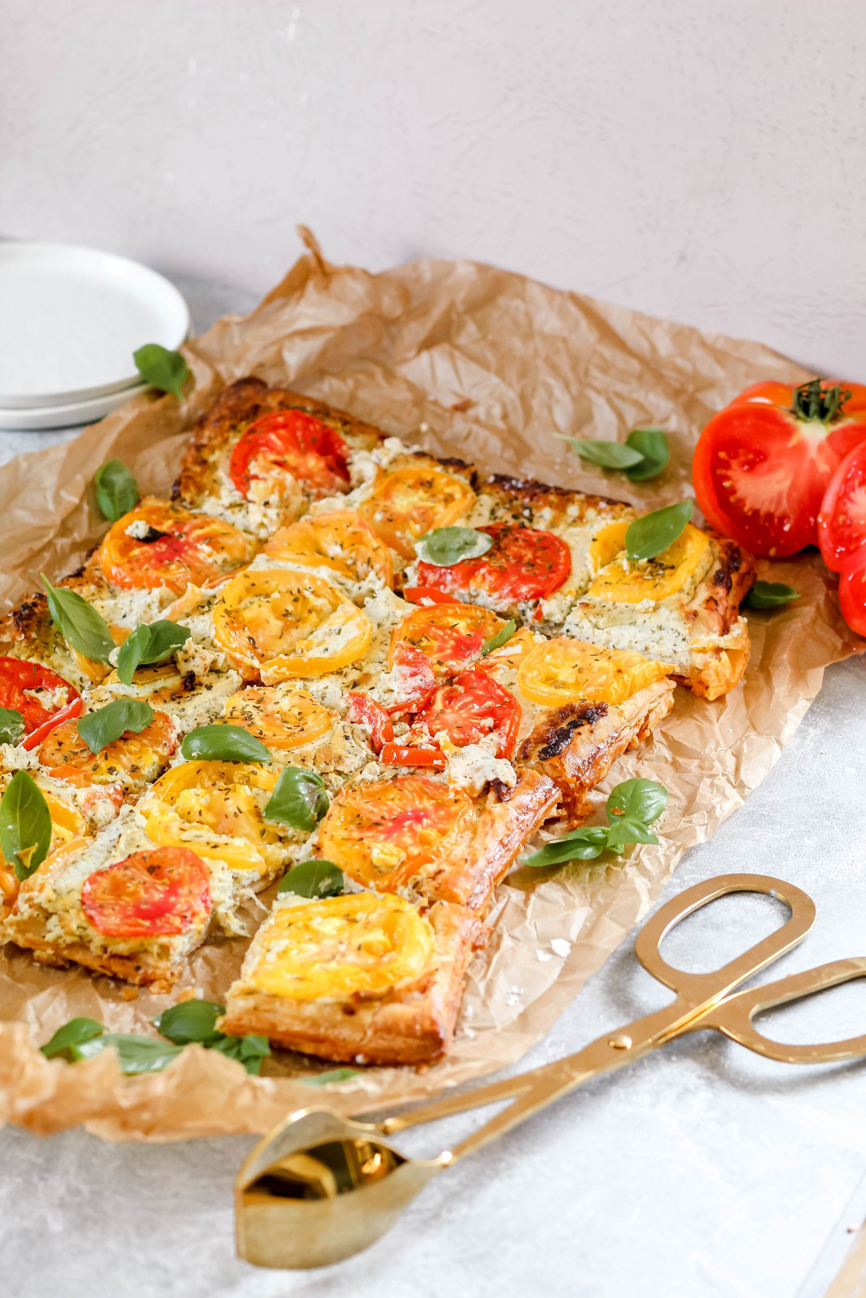 Heirloom Tomato Tart with Pesto-Whipped Goat Cheese